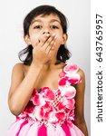 cute girl child in pink flower... | Shutterstock . vector #643765957