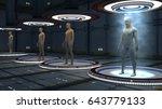 3d render. human clones in... | Shutterstock . vector #643779133