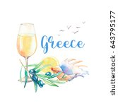 watercolor greece label. hand... | Shutterstock . vector #643795177