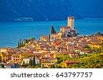 town of malcesine on lago di...