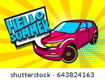 hello summer phrase. car pop... | Shutterstock .eps vector #643824163