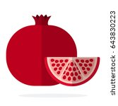 pomegranate fruit and a piece... | Shutterstock .eps vector #643830223
