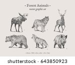Stock vector forest animals drawings set on grey background with moose wolf deer bear fox boar 643850923