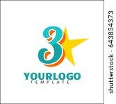3 letter identity. colorful... | Shutterstock .eps vector #643854373