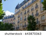 typical buildings from paris | Shutterstock . vector #643870363