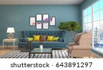 interior living room. 3d... | Shutterstock . vector #643891297