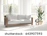 white room with sofa and green... | Shutterstock . vector #643907593