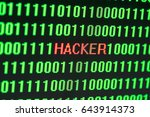 "Small photo of ""Hacker"" with Binary code ASCII digital number, selective focus"