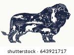 lion double exposure tattoo art ... | Shutterstock .eps vector #643921717