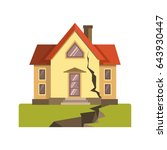 house cracked in earthquake | Shutterstock .eps vector #643930447