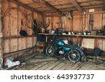 Old Blue Green Motorbike In...