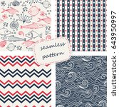 set of 4 seamless patterns in... | Shutterstock .eps vector #643950997