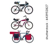 vector set of touring bikes... | Shutterstock .eps vector #643952827