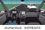 driverless car on the road.... | Shutterstock .eps vector #643982653