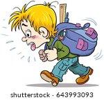 schoolboy and big backpack | Shutterstock .eps vector #643993093