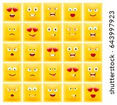 set of square emoticons. set of ... | Shutterstock .eps vector #643997923