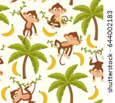 seamless pattern with monkey on ... | Shutterstock .eps vector #644002183