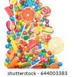 tasty lollipops and colorful... | Shutterstock . vector #644003383