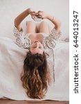 beautiful woman using mobile... | Shutterstock . vector #644013247