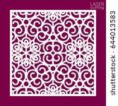 laser cut square ornamental... | Shutterstock .eps vector #644013583