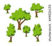 set of different trees with... | Shutterstock .eps vector #644026153