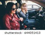 two young women friends talking ... | Shutterstock . vector #644051413
