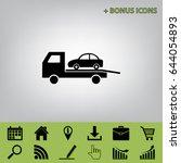 tow car evacuation sign. vector.... | Shutterstock .eps vector #644054893