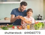 young father and daughter...   Shutterstock . vector #644060773