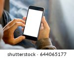 man holding smart phone with... | Shutterstock . vector #644065177