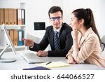 business people working with... | Shutterstock . vector #644066527
