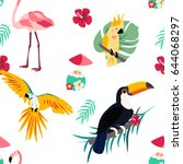 bright pattern with parrot ... | Shutterstock .eps vector #644068297