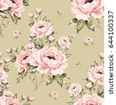 seamless pattern of bouquets of ... | Shutterstock . vector #644100337