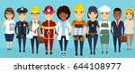 a group of workers.... | Shutterstock .eps vector #644108977
