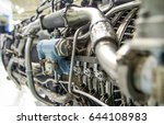 Small photo of Aircraft engine. Internal components of the aircraft engine