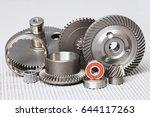 many steel details on white... | Shutterstock . vector #644117263