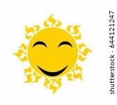 yellow smiling sun vector  ... | Shutterstock .eps vector #644121247