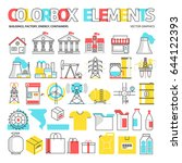 color box icons  elements... | Shutterstock .eps vector #644122393