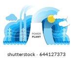 power plant generating power... | Shutterstock .eps vector #644127373