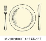knife plate and fork. cutlery... | Shutterstock .eps vector #644131447
