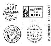 wanderlust vector logotypes ...   Shutterstock .eps vector #644132767