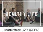 exercise active strong wellness ... | Shutterstock . vector #644161147