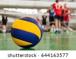 Yellow Blue Volleyball On The...