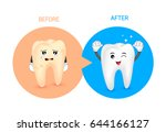 cartoon tooth character before... | Shutterstock .eps vector #644166127
