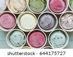 top view ice cream flavors in... | Shutterstock . vector #644175727