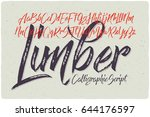 hand drawn calligraphic font... | Shutterstock .eps vector #644176597