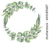 herbal wreath with watercolor... | Shutterstock . vector #644185687