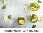 homemade iced lemon sweet tea... | Shutterstock . vector #644187583