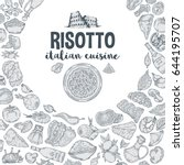 vector image. risotto... | Shutterstock .eps vector #644195707