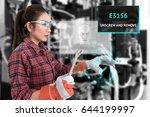 young female farmer use ar... | Shutterstock . vector #644199997