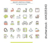 healthy lifestyle icons set.... | Shutterstock .eps vector #644205343